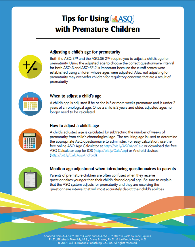 Using ASQ with premature children tip sheet