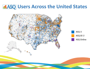 Map plotting ASQ users across the United States